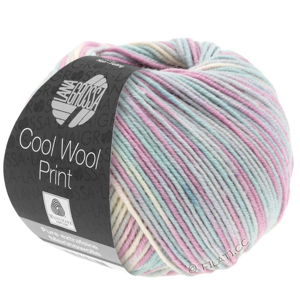 Lana Grossa COOL WOOL  Uni/Melange/Print/Neon | 792-sølvgrå/mynte/lilla/blegrosa