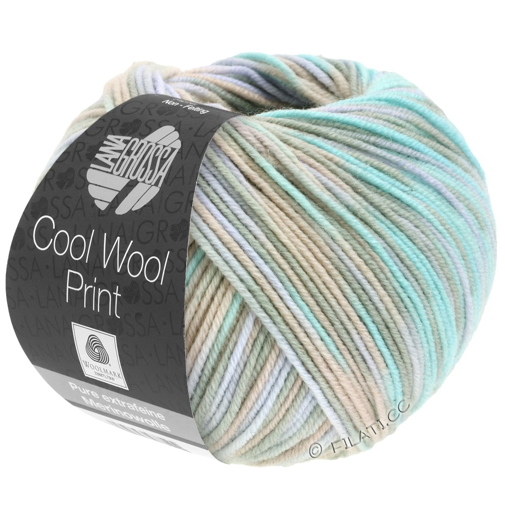 Lana Grossa COOL WOOL  Uni/Melange/Print/Neon | 793-grège/beige/mynte/blegviolet
