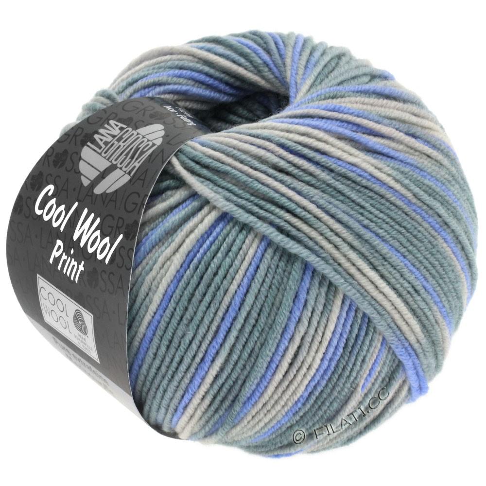 Lana Grossa COOL WOOL  Uni/Melange/Print/Neon | 795-grège/grøngrå/violetblå