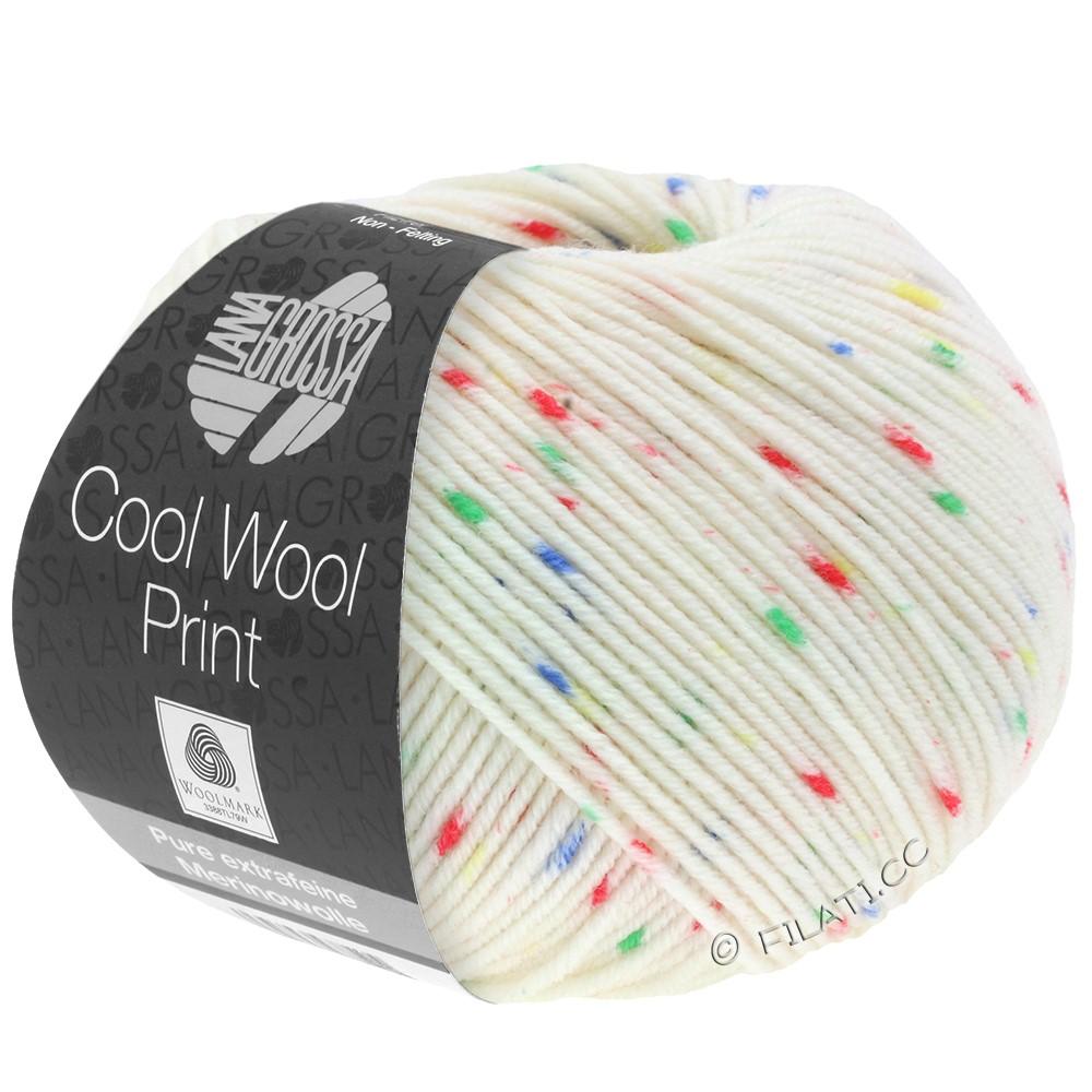 Lana Grossa COOL WOOL  Uni/Melange/Print/Neon | 801-rå hvid/rød/grøn/blå/gul