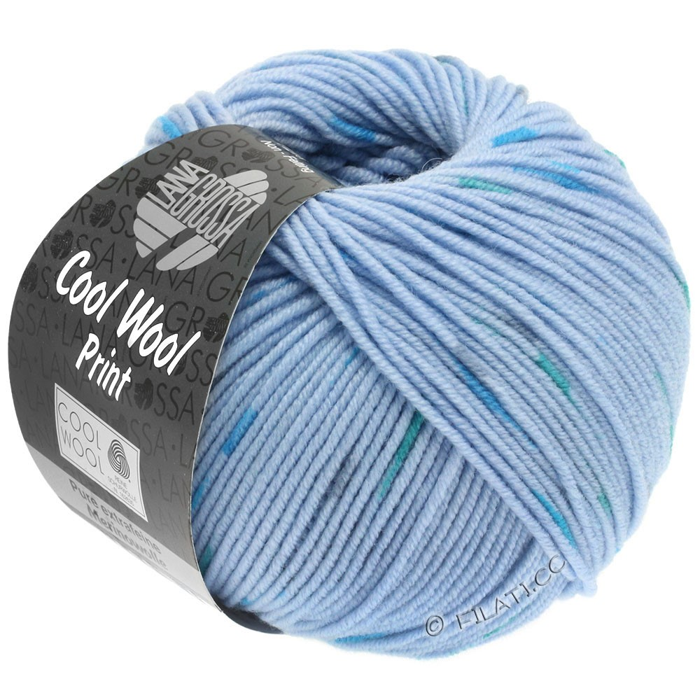 Lana Grossa COOL WOOL  Uni/Melange/Print/Neon | 807-lyseblå/petrol/mørkegrå