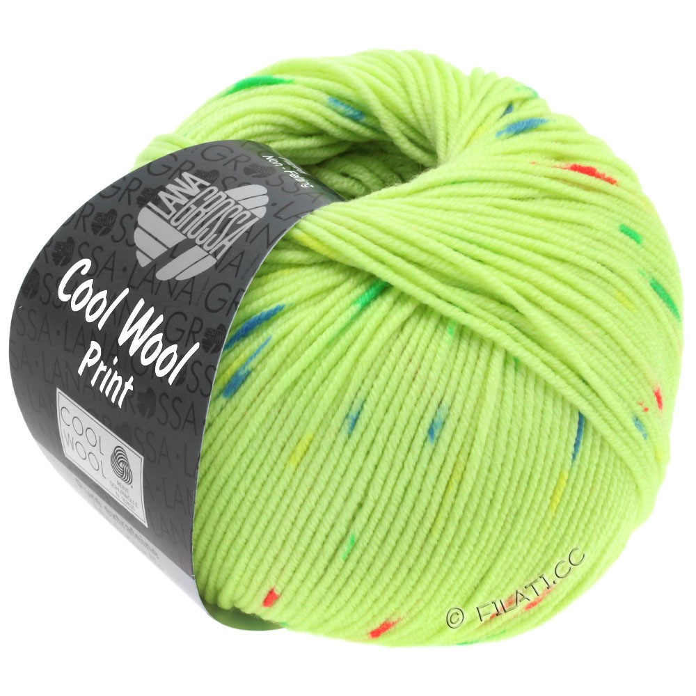 Lana Grossa COOL WOOL  Uni/Melange/Print/Degradé/Neon | 809-lysegrøn/pink/grøn/blå