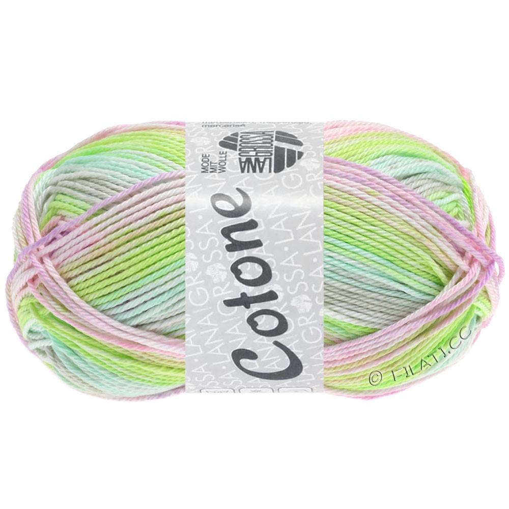 Lana Grossa COTONE  Print/Denim | 251-sartgrøn/sartgrå/rosé/lyse lilla/grøngul