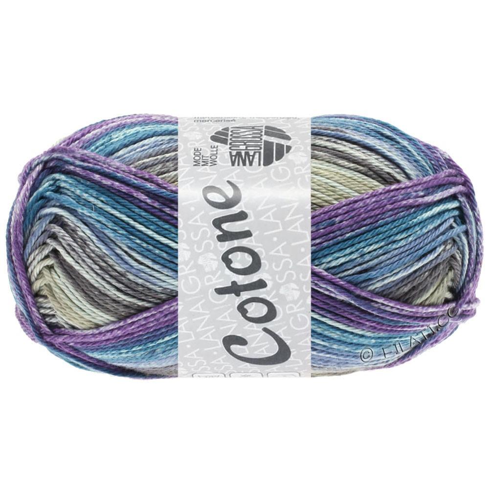 Lana Grossa COTONE  Print/Denim | 257-grège/violet/petrol blå/jeans/taupe