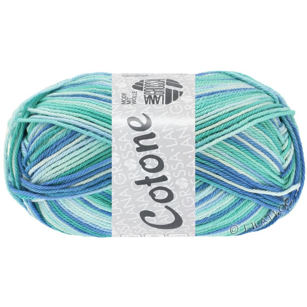 Lana Grossa COTONE  Print/Denim | 312-isblå/lyseturkis/blå