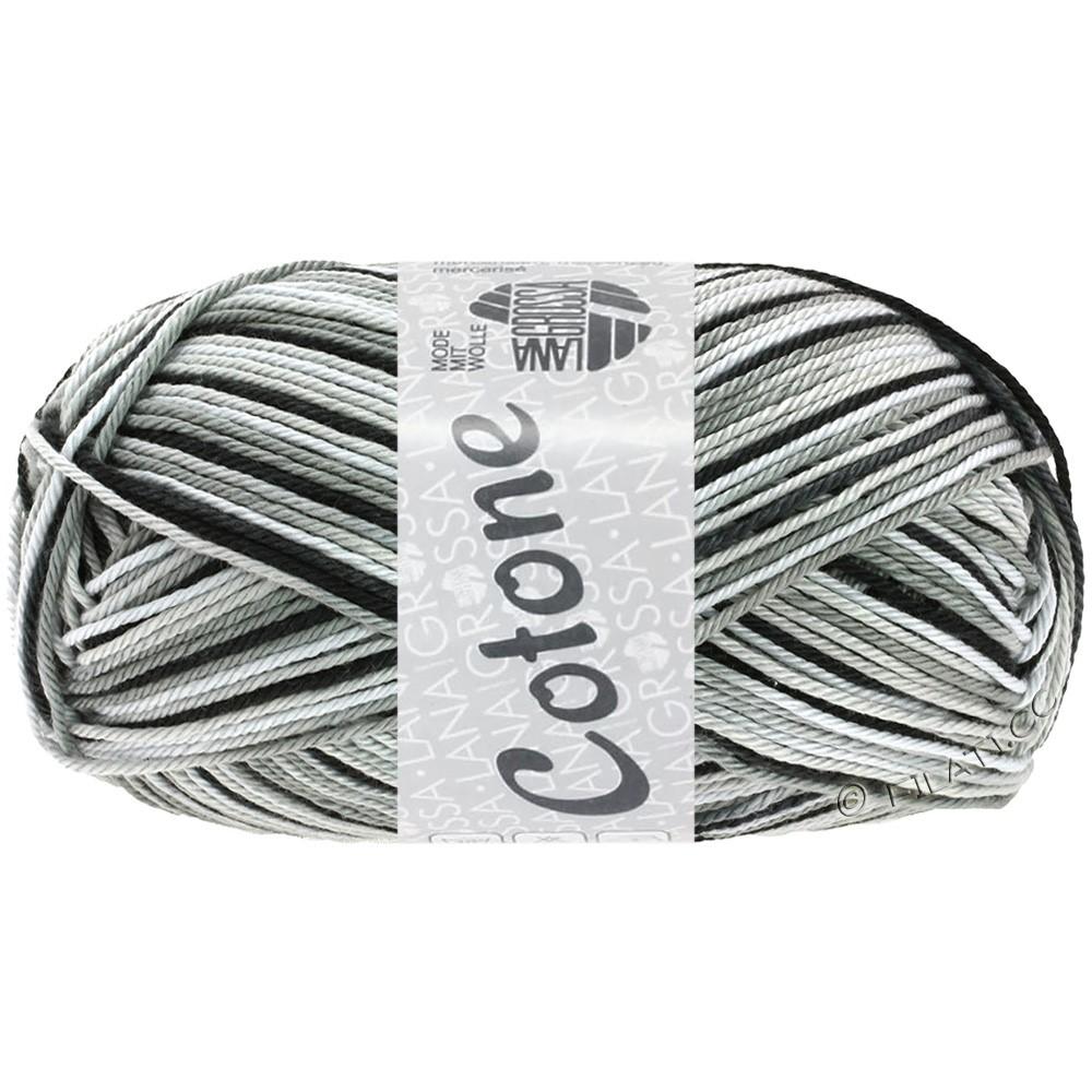 Lana Grossa COTONE  Print/Denim | 317-hvid/sølvgrå/mørkegrå/sort