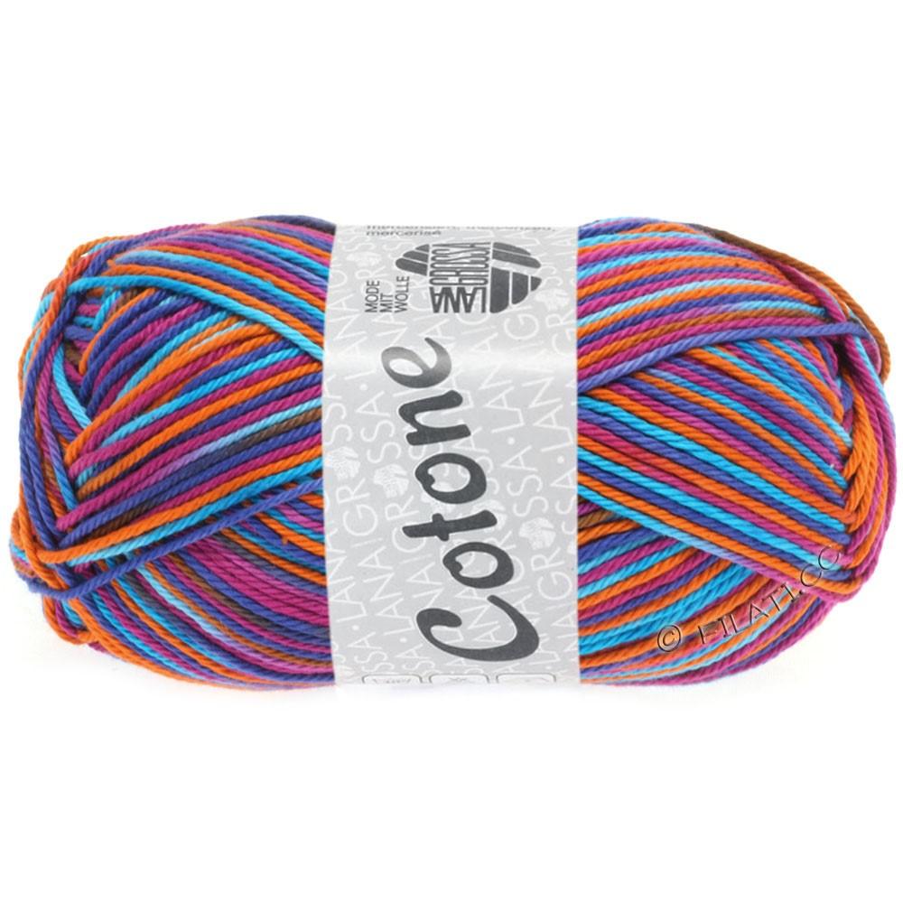 Lana Grossa COTONE  Print/Denim | 318-rødviolet/turkisblå/græskar/blå violet