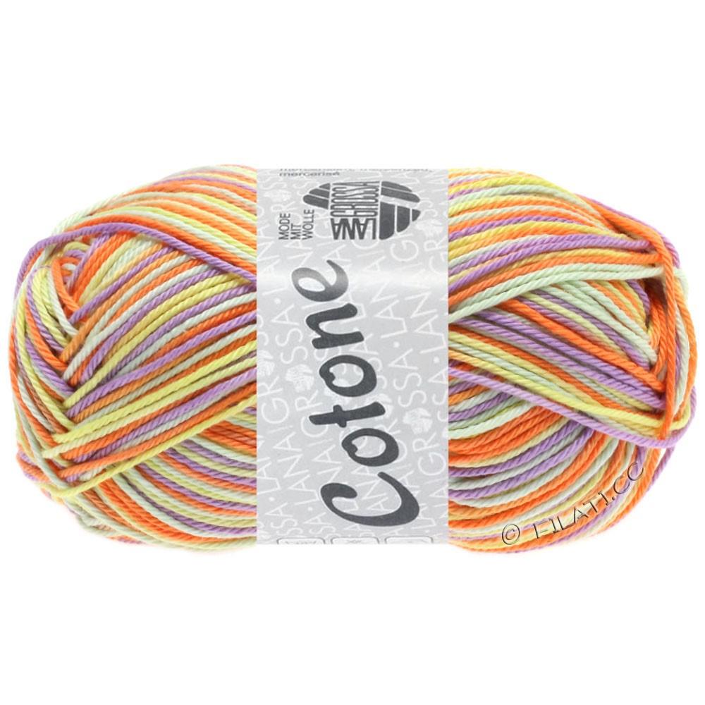 Lana Grossa COTONE  Print/Denim | 325-vanilje/purpur/orange/bleggrøn