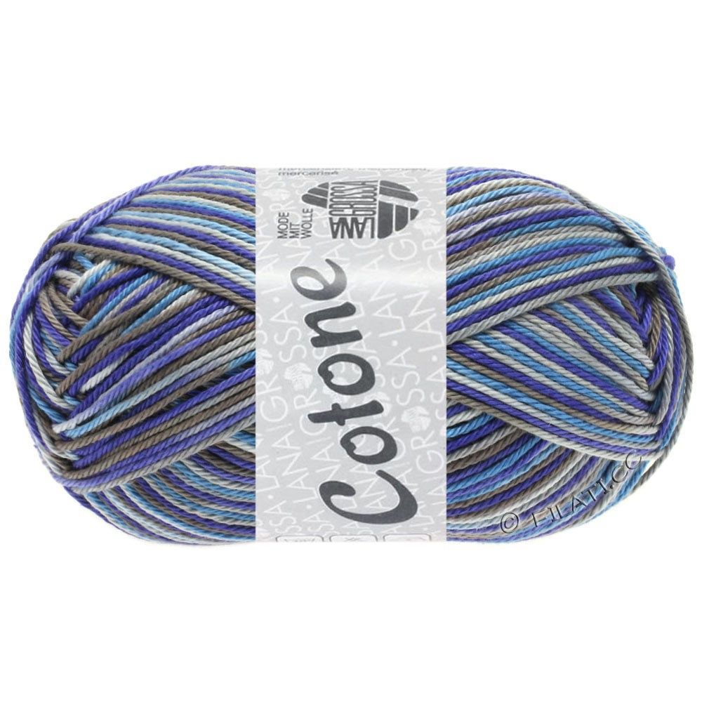 Lana Grossa COTONE  Print/Denim | 326-lysegrå/mørkegrå/blå violet/dueblå