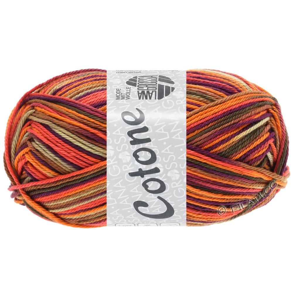 Lana Grossa COTONE  Print/Denim | 334-orange/beige/terrakotta/mørk violet/brun/mørkebrun