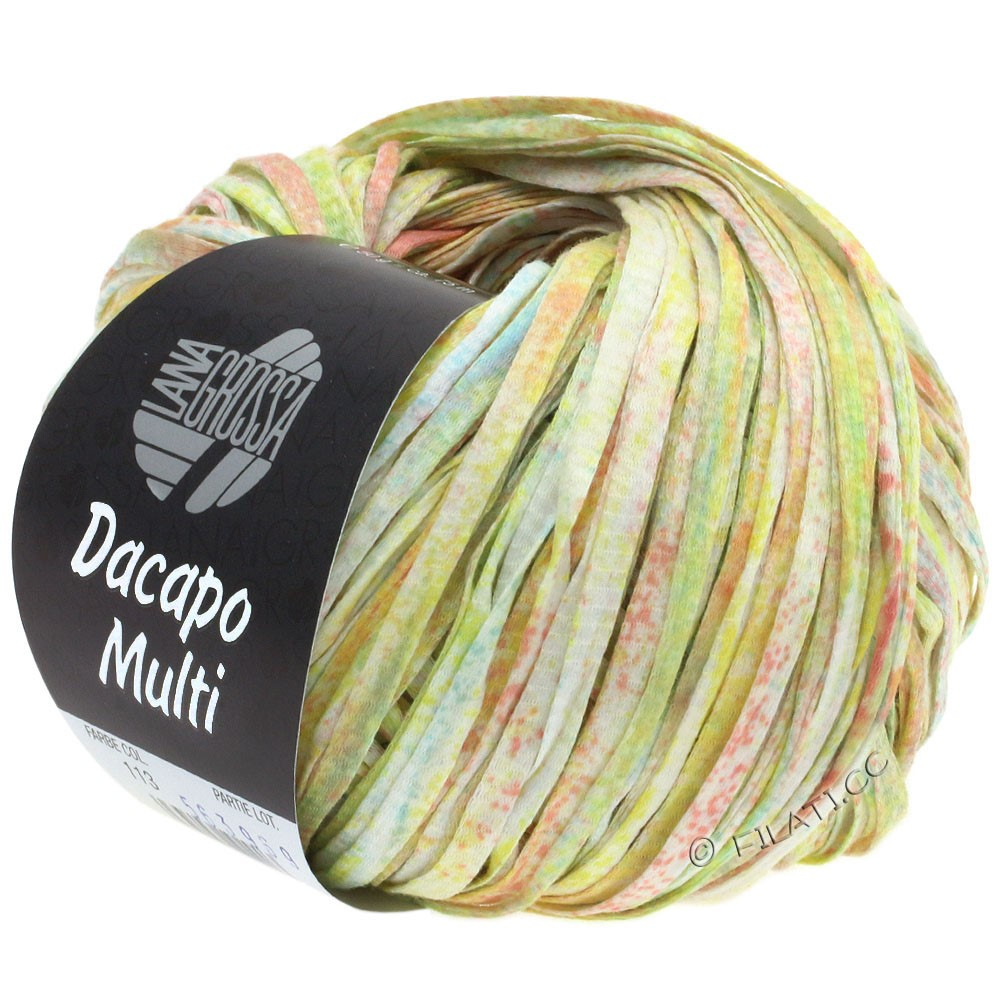 Lana Grossa DACAPO Multi | 113-rosa/lysegul/lysegrøn/turkis/hvid
