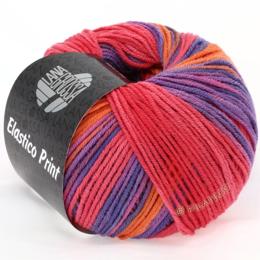 Lana Grossa ELASTICO  Uni/Print | 503-orange/hindbær/purpur