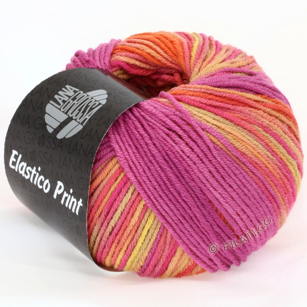 Lana Grossa ELASTICO  Uni/Print | 510-kreeft/kamel/hindbær/pink/fersken