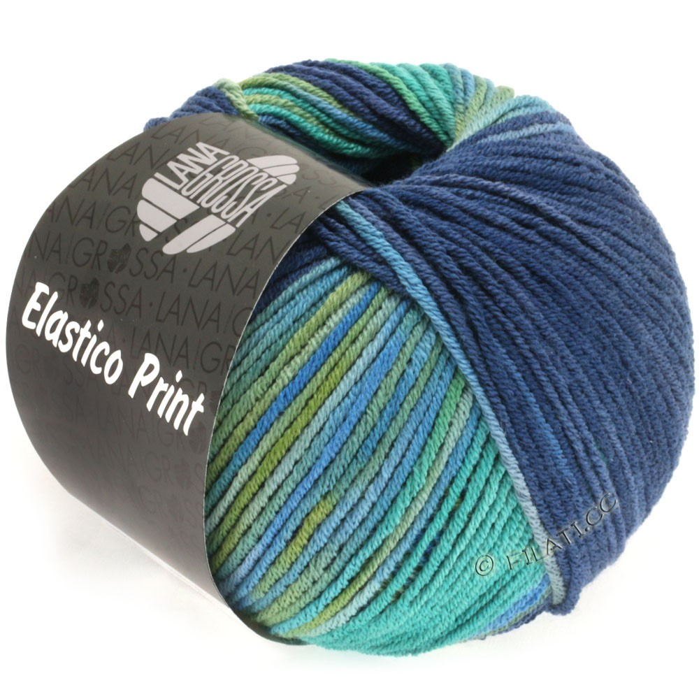 Lana Grossa ELASTICO Uni/Print | 514-opalgrøn/petrol grøn/mørkeblå/natblå/oliven