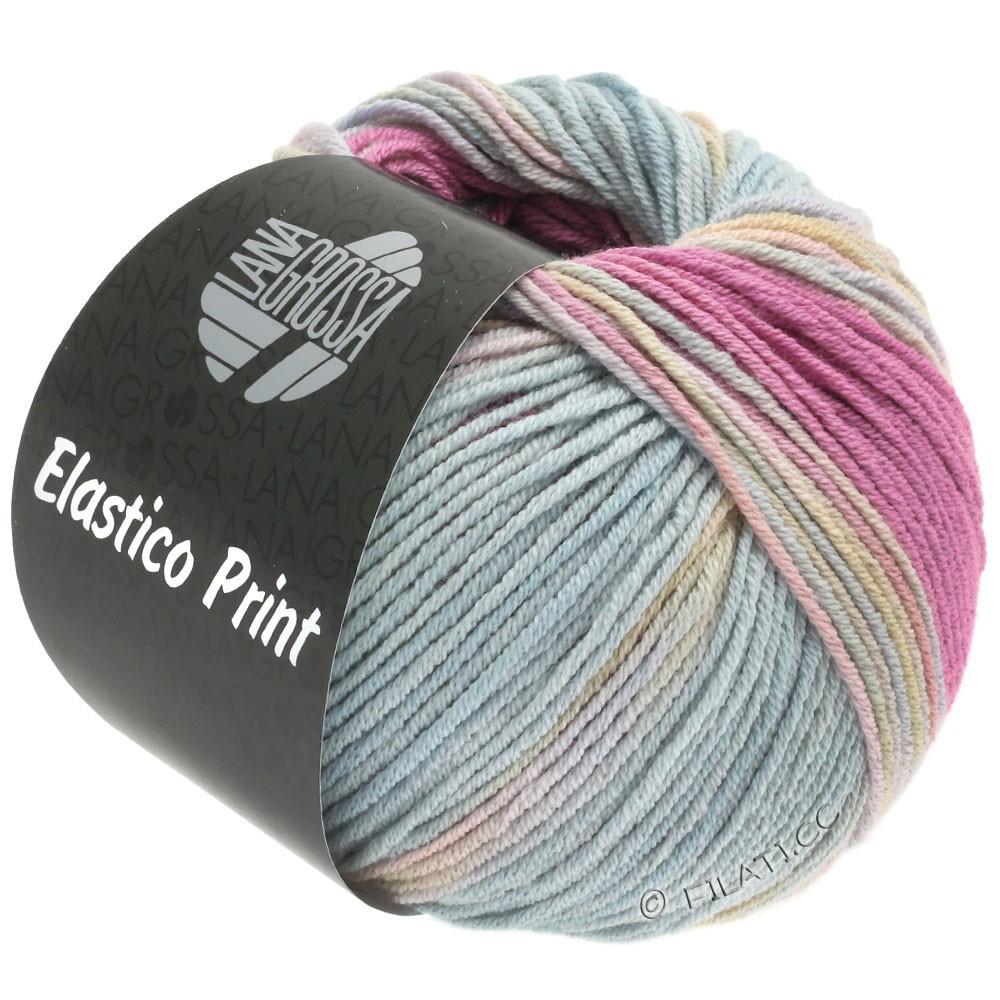 Lana Grossa ELASTICO  Uni/Print | 521-pink/rosa/gråblå/gulgrøn
