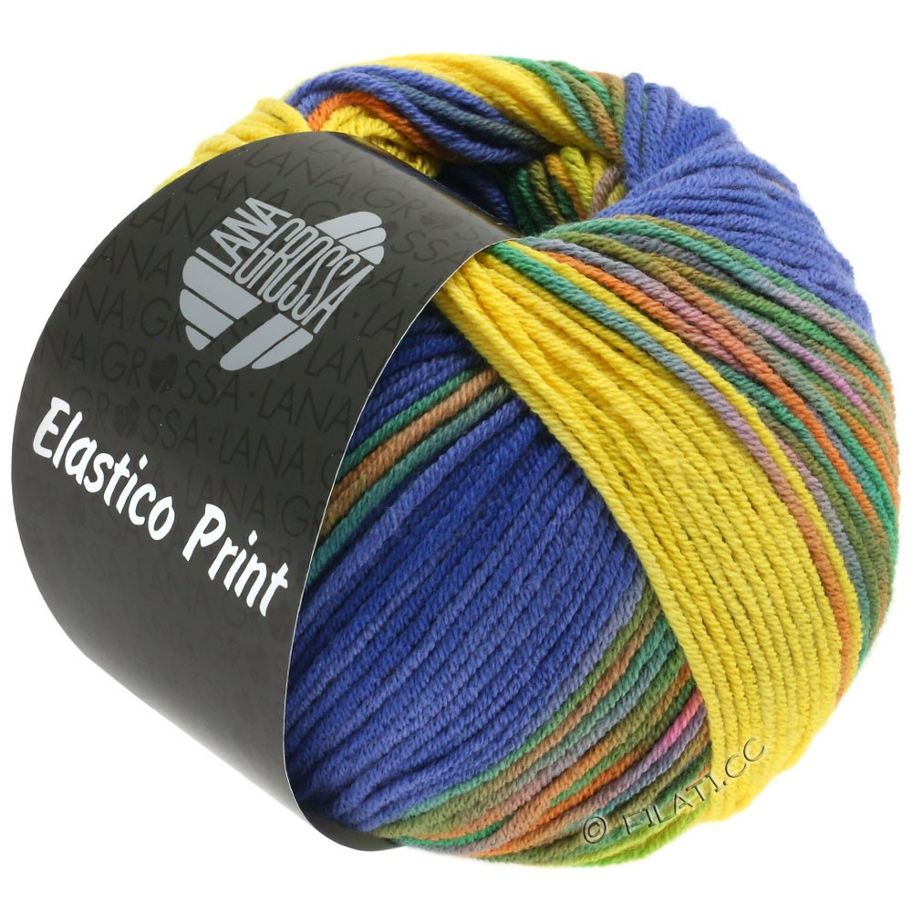 Lana Grossa ELASTICO  Uni/Print | 523-gul/blå violet/natblå/grøn/orange