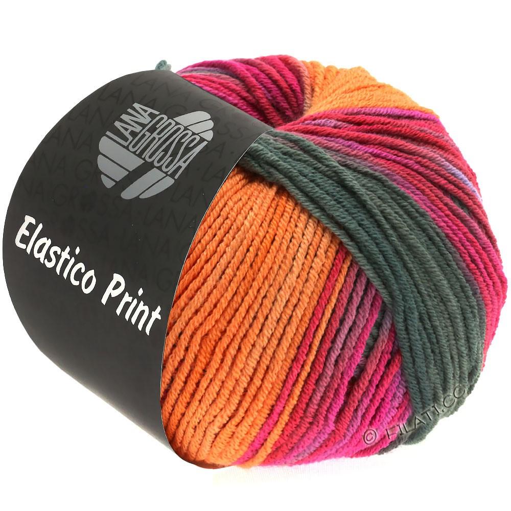 Lana Grossa ELASTICO  Uni/Print | 526-orange/kaki/pink/cyklamen