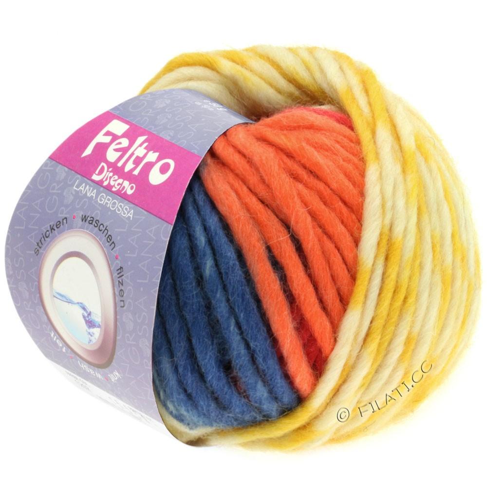 Lana Grossa FELTRO Disegno   1201-rå hvid/gul/orange/lyseblå