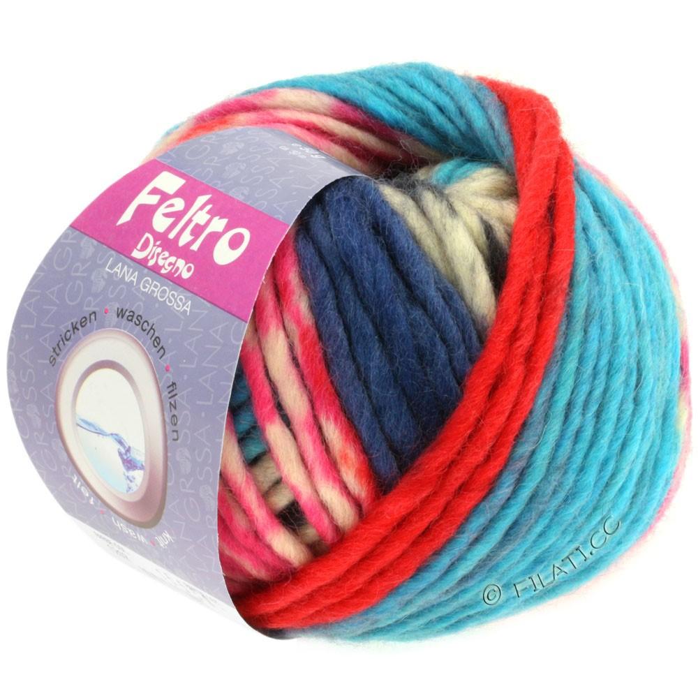 Lana Grossa FELTRO Disegno   1202-rå hvid/sort/pink/turkis/mørkeblå