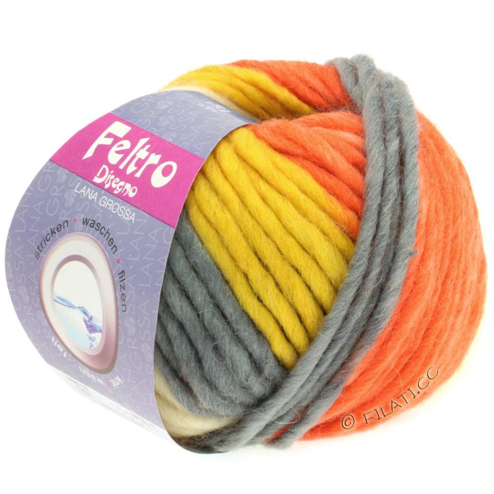 Lana Grossa FELTRO Disegno | 1204-rå hvid/antracit/gul/terrakotta/orange