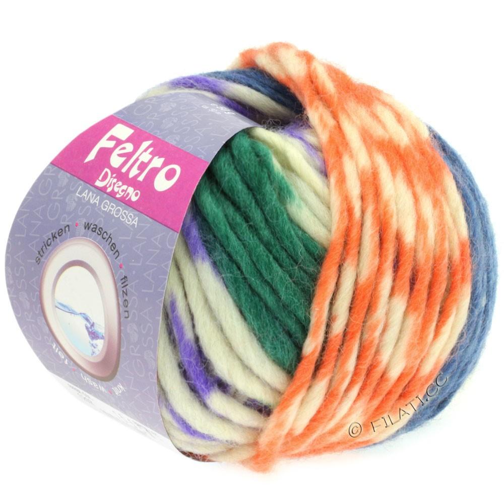 Lana Grossa FELTRO Disegno   1205-purpur/rå hvid/blå/grøn/gul/fersken
