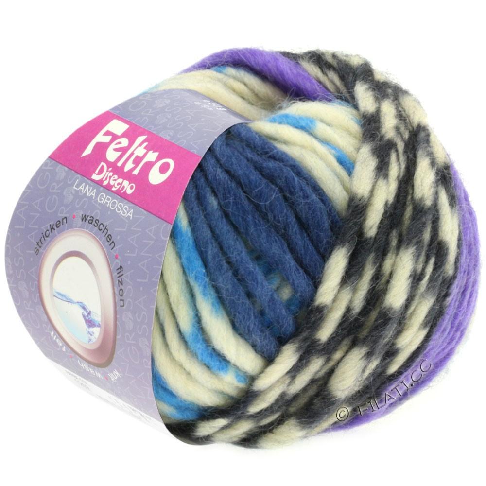 Lana Grossa FELTRO Disegno   1206-rå hvid/lyseblå/violet/jeans/grå