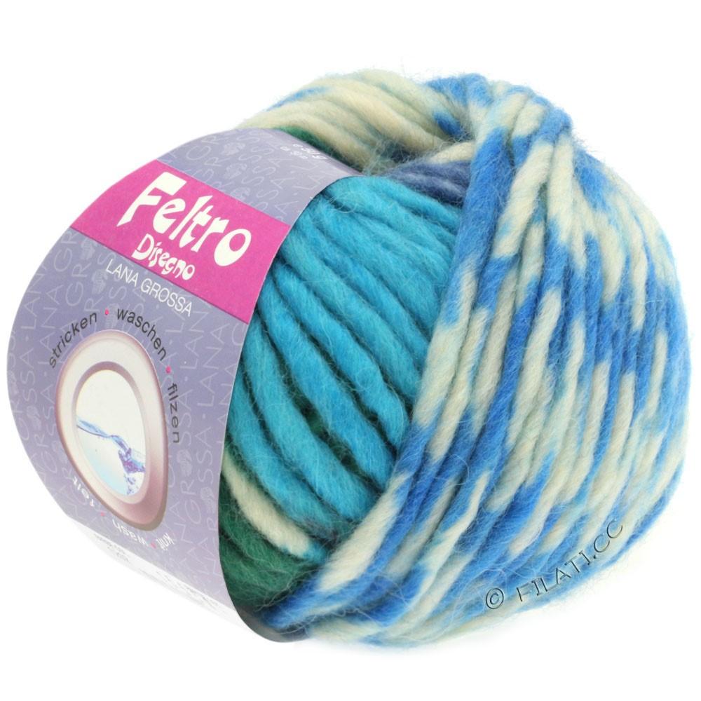 Lana Grossa FELTRO Disegno | 1208-rå hvid/antracit/blå/mørkegrøn/turkis