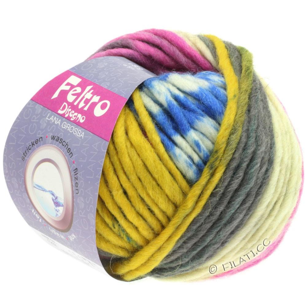 Lana Grossa FELTRO Disegno   1209-rå hvid/antracit/gul/pink/blå
