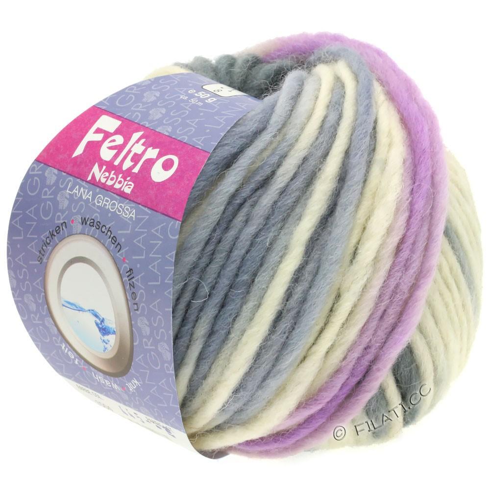 Lana Grossa FELTRO Nebbia | 1501-hvid/lilla/mørkegrå/lysegrå