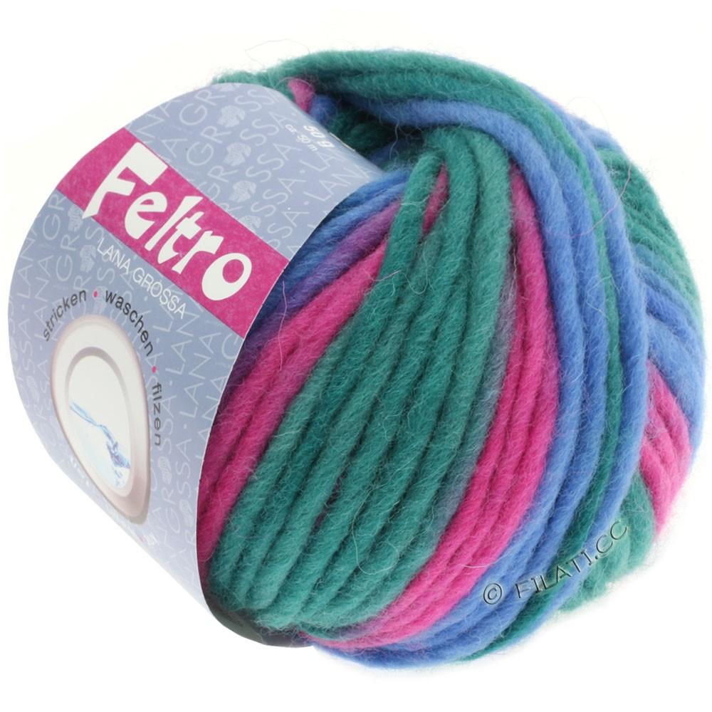 Lana Grossa FELTRO Print | 301-petrol grøn/royal/pink