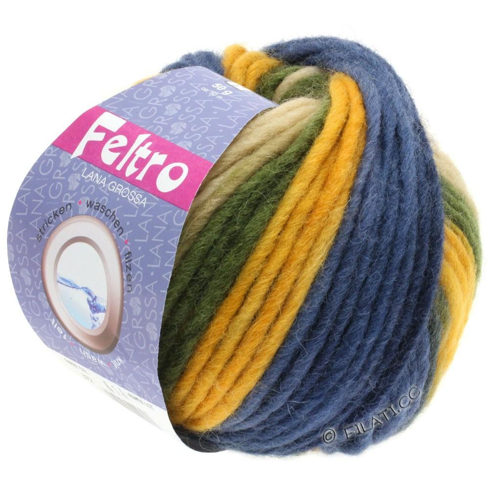Lana Grossa FELTRO Print | 372-gyldengul/kaki/mørkeblå