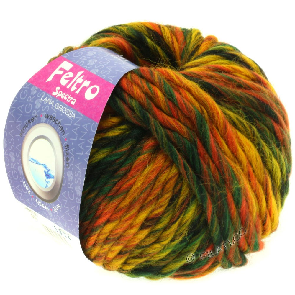 Lana Grossa FELTRO Spectra | 803-ruste/gul/mokka/mørkegrøn/sort