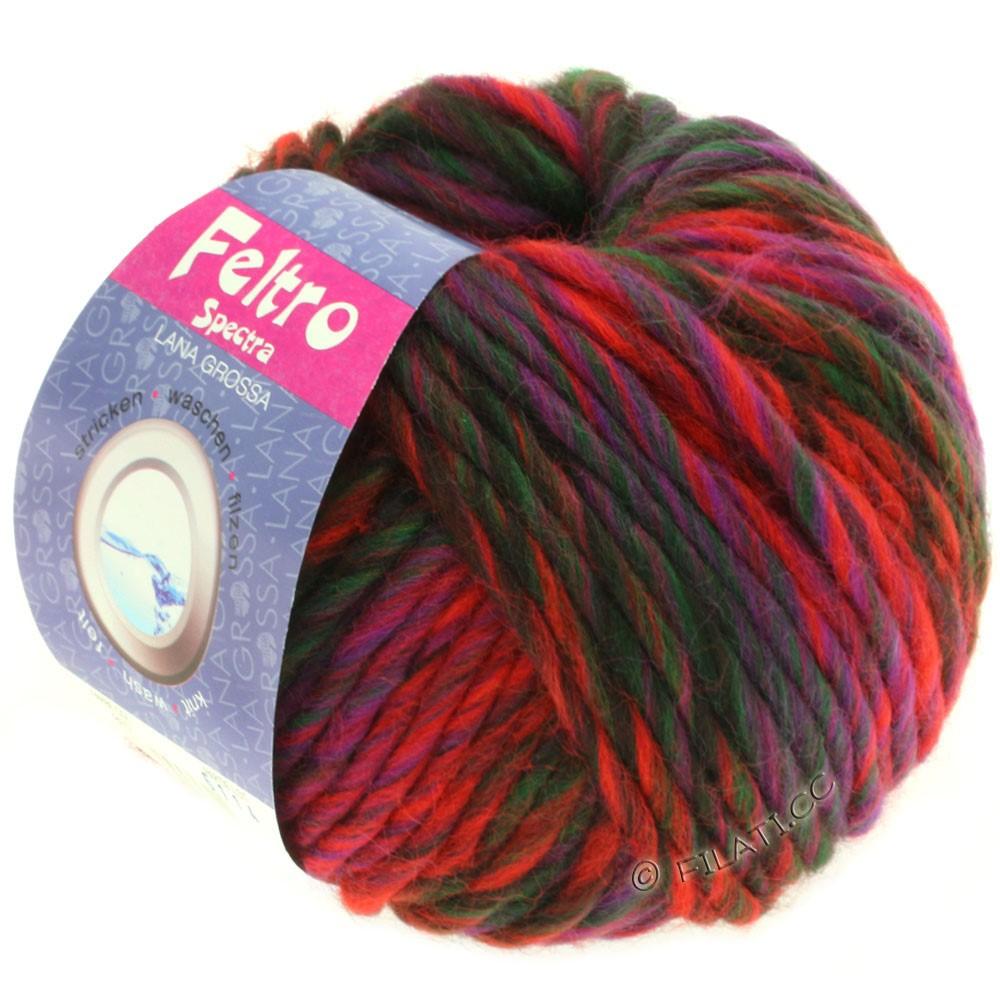 Lana Grossa FELTRO Spectra | 807-rød/violet/flaske grøn/sortbrun