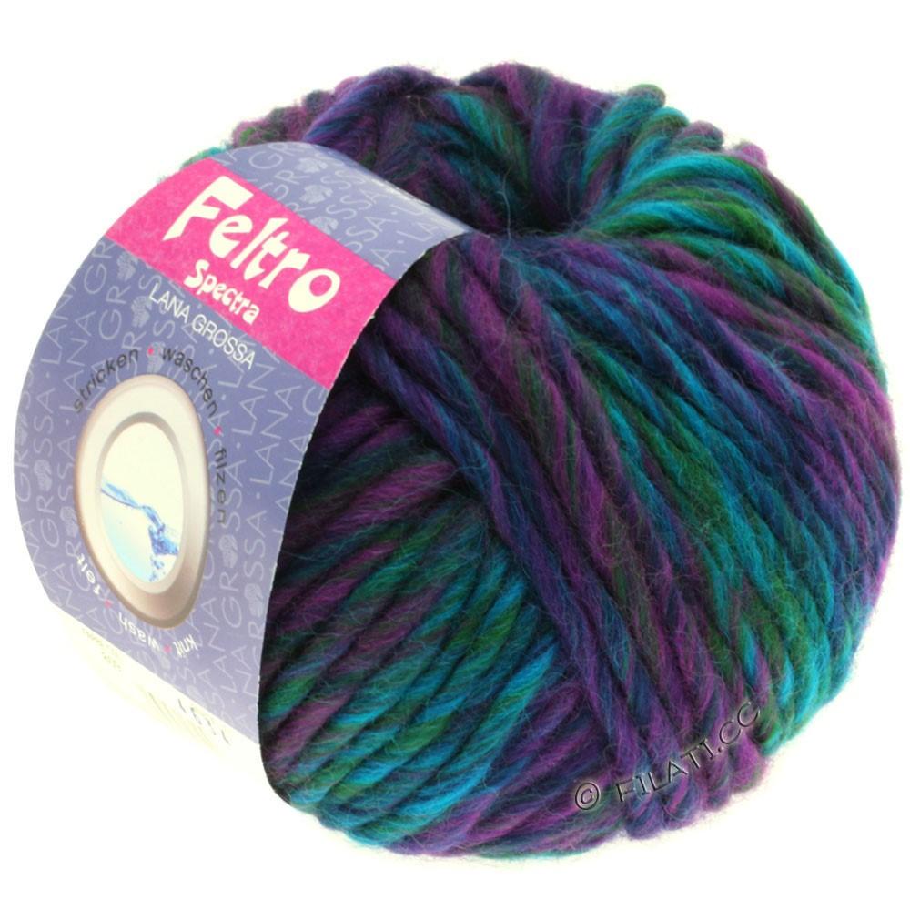 Lana Grossa FELTRO Spectra | 809-rødviolet/marine/turkis/petrol/flaske grøn