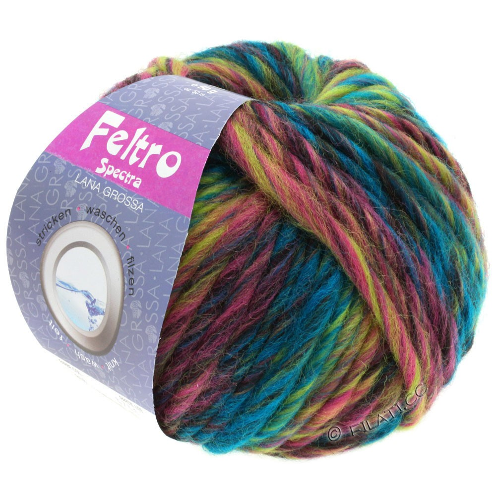 Lana Grossa FELTRO Spectra | 818-petrol/gulgrøn/rosa/pink/burgund/antracit