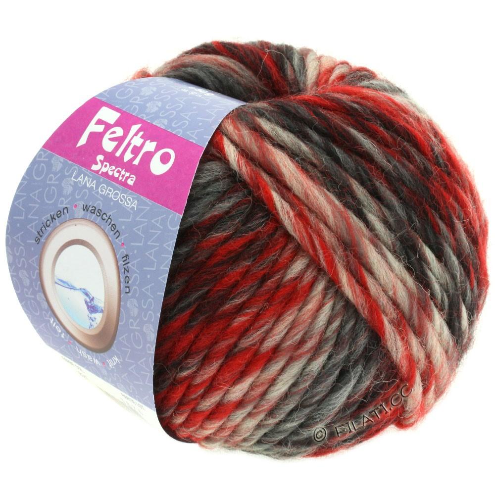 Lana Grossa FELTRO Spectra | 821-rød/rå hvid/sort/antracit