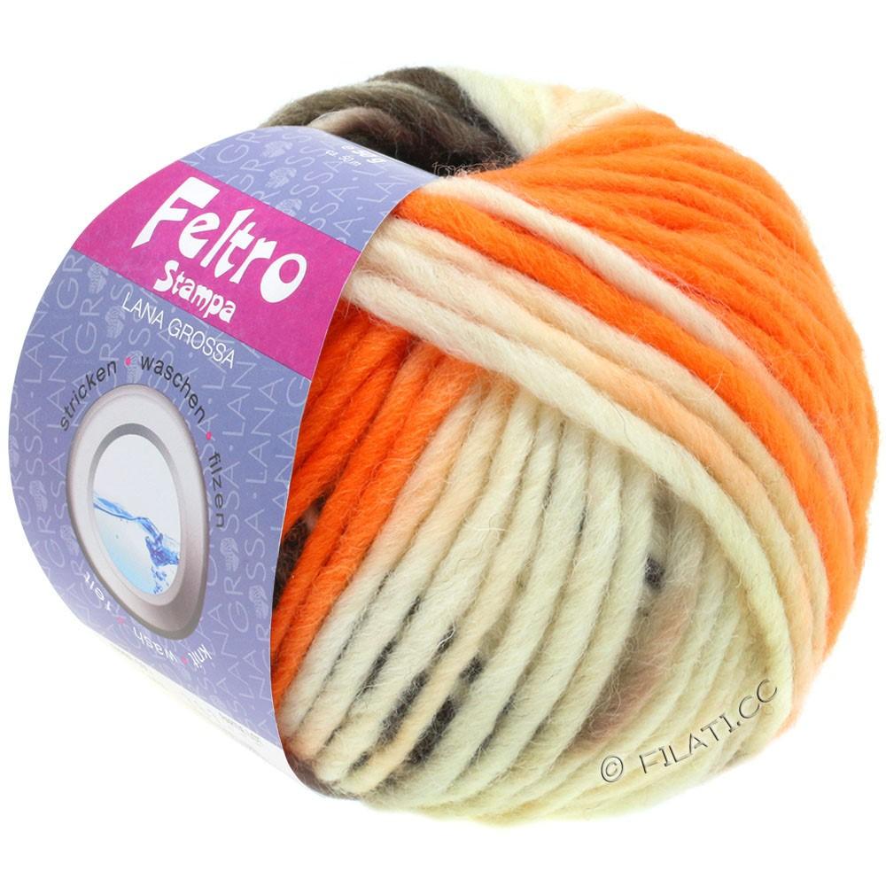 Lana Grossa FELTRO Stampa | 1401-rå hvid/orange/taupe/gråbrun