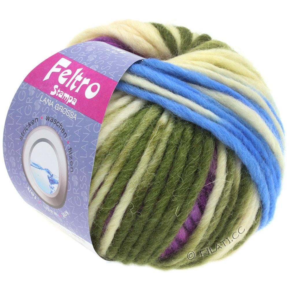 Lana Grossa FELTRO Stampa | 1402-rå hvid/lyseblå/violet/hø grøn