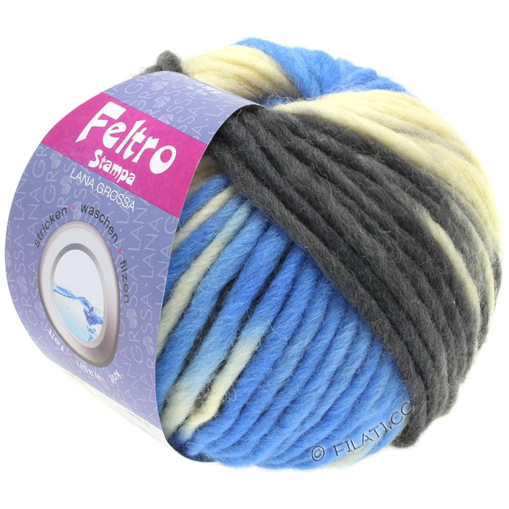 Lana Grossa FELTRO Stampa | 1404-rå hvid/lyseblå/antracit/sort