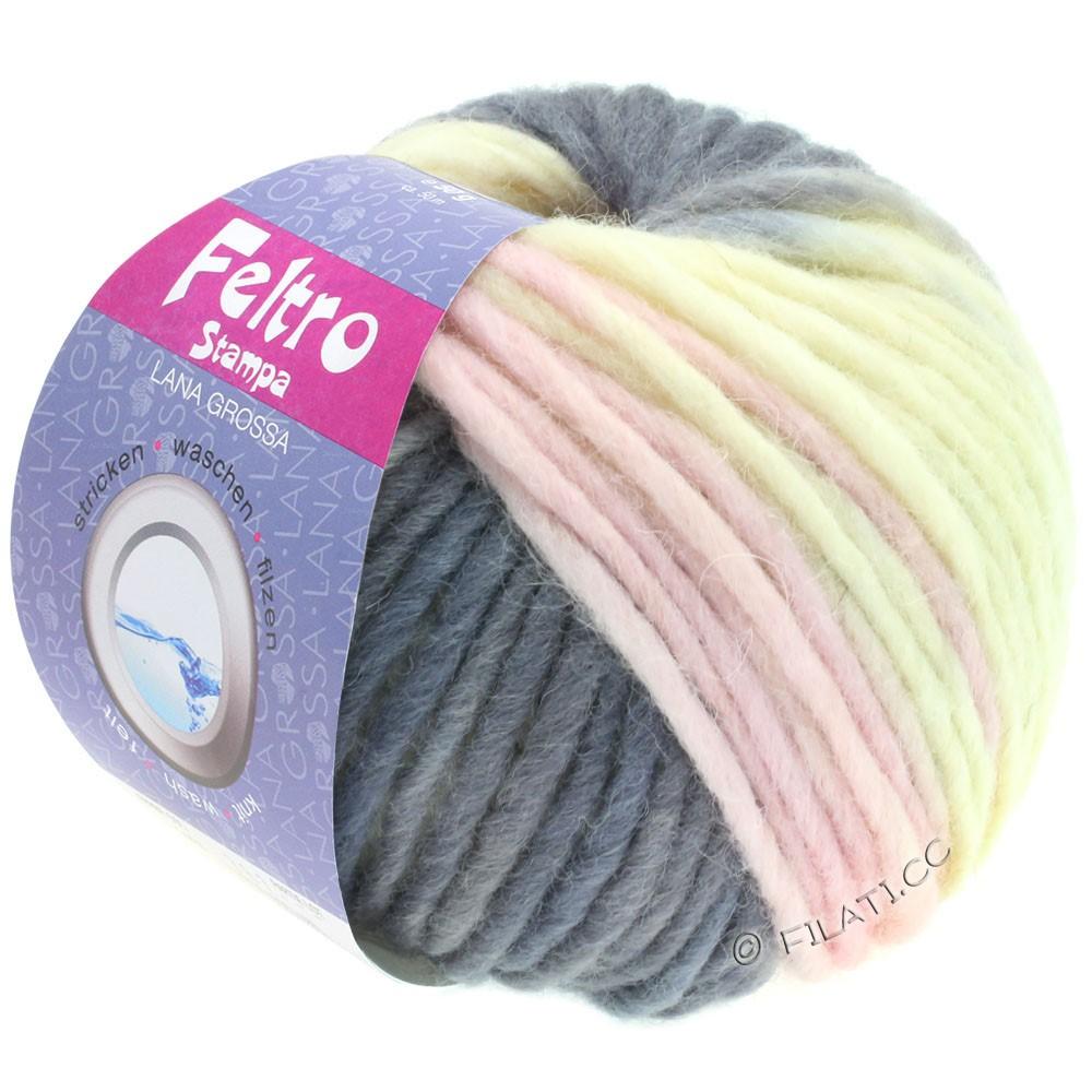 Lana Grossa FELTRO Stampa | 1409-rå hvid/grå purpur/sartlilla/mørkegrå