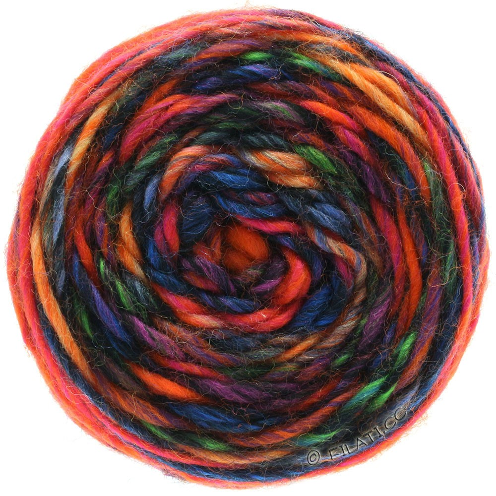 Lana Grossa GOMITOLO Merino | 05-orange/rød/violet/petrol/blå/sort