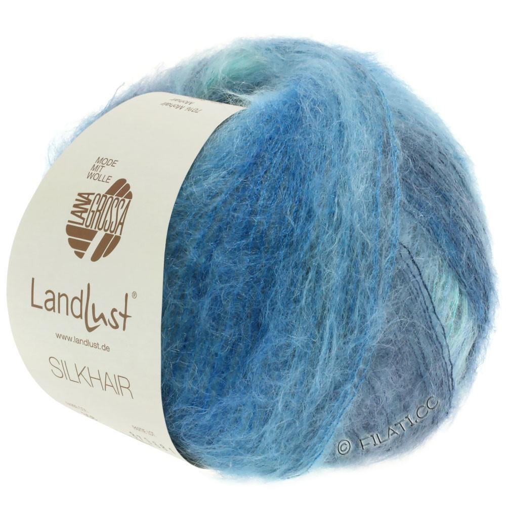 Lana Grossa LANDLUST SILKHAIR | 360-lyseblå/turkis/røgblå/petrol blå