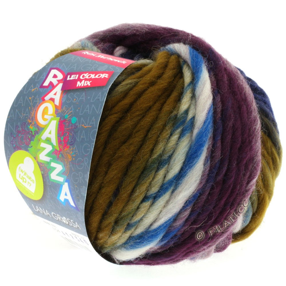 Lana Grossa LEI Mouliné/Color Mix/Spray (Ragazza)   154-natur/grå/umbra/sortblå