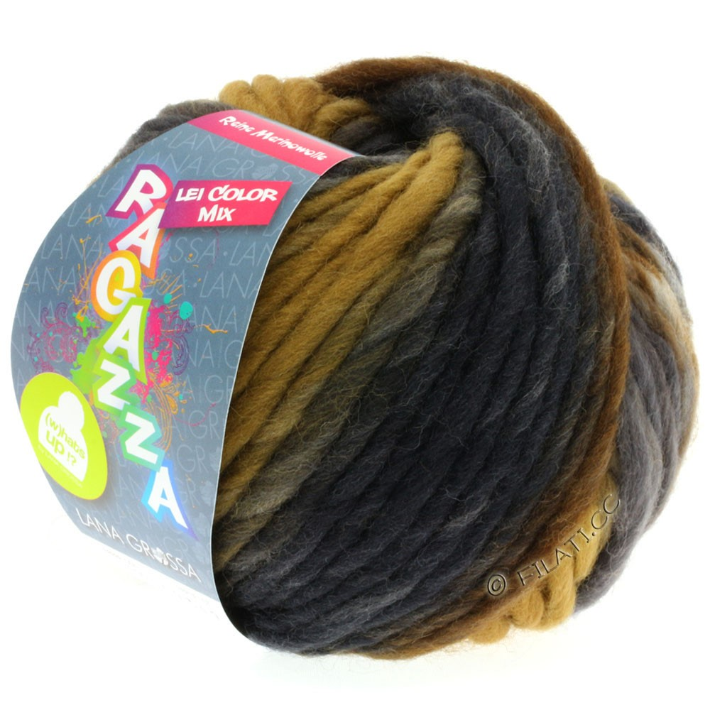 Lana Grossa LEI Mouliné/Color Mix/Spray (Ragazza) | 156-grège/okkerbrun/gråbrun/mørkebrun