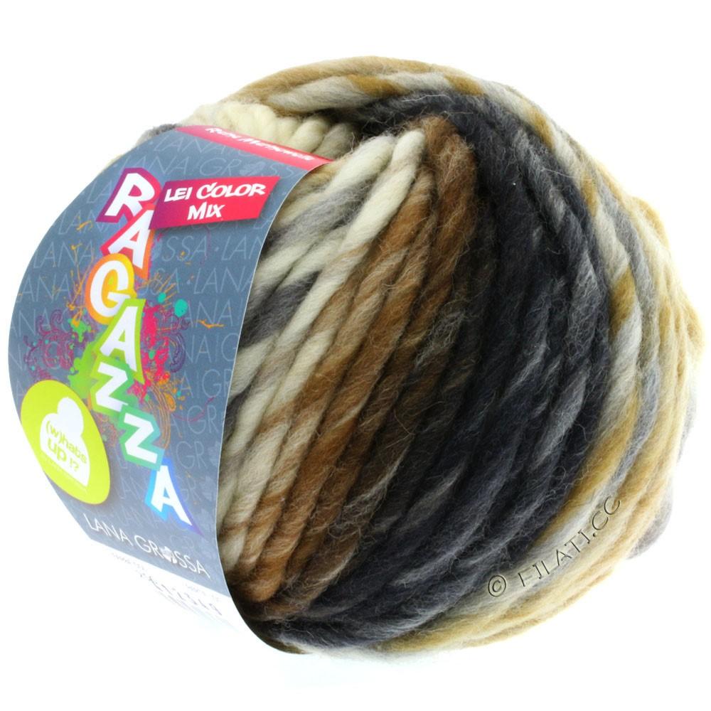 Lana Grossa LEI Mouliné/Color Mix/Spray (Ragazza) | 256-rå hvid/lysegrå/okker/mørkegrå