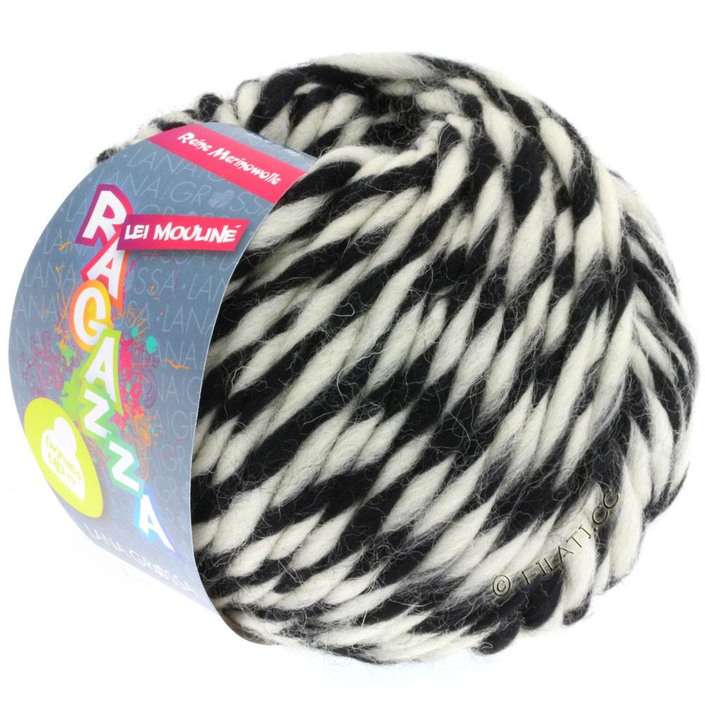 Lana Grossa LEI Mouliné/Color Mix/Spray (Ragazza)   660-sort/rå hvid