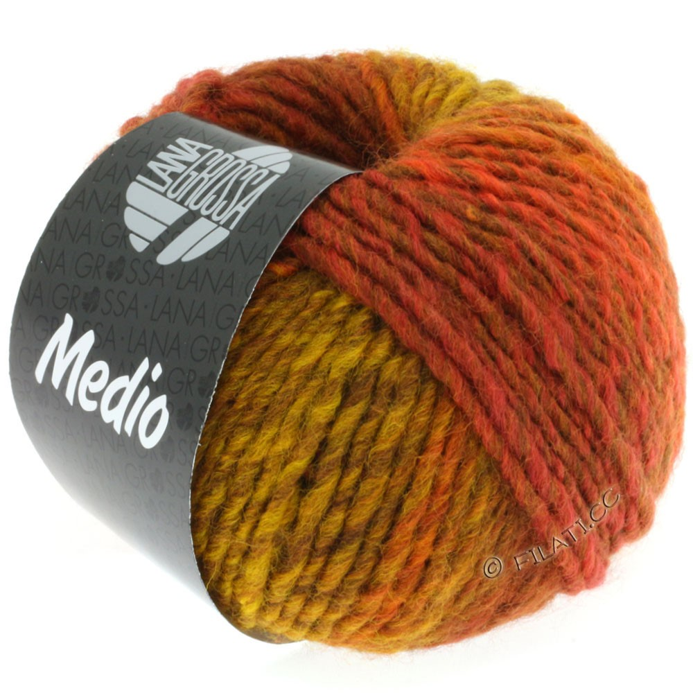 Lana Grossa MEDIO | 14-majsgul/rådyrbrun/mokka/kanelbrun/ruste