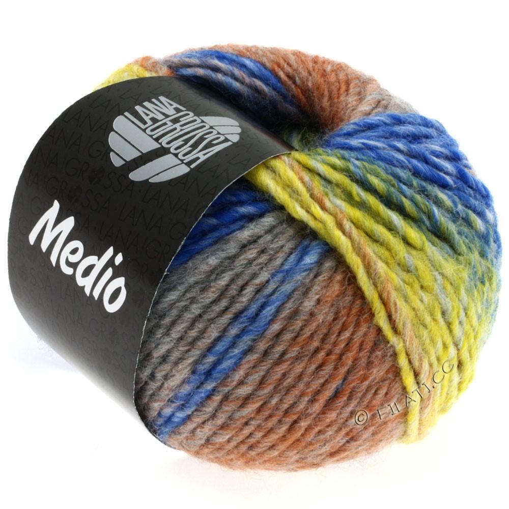 Lana Grossa MEDIO | 18-sennep/lysegrå/gennemsnit grå/brun/blå/natur