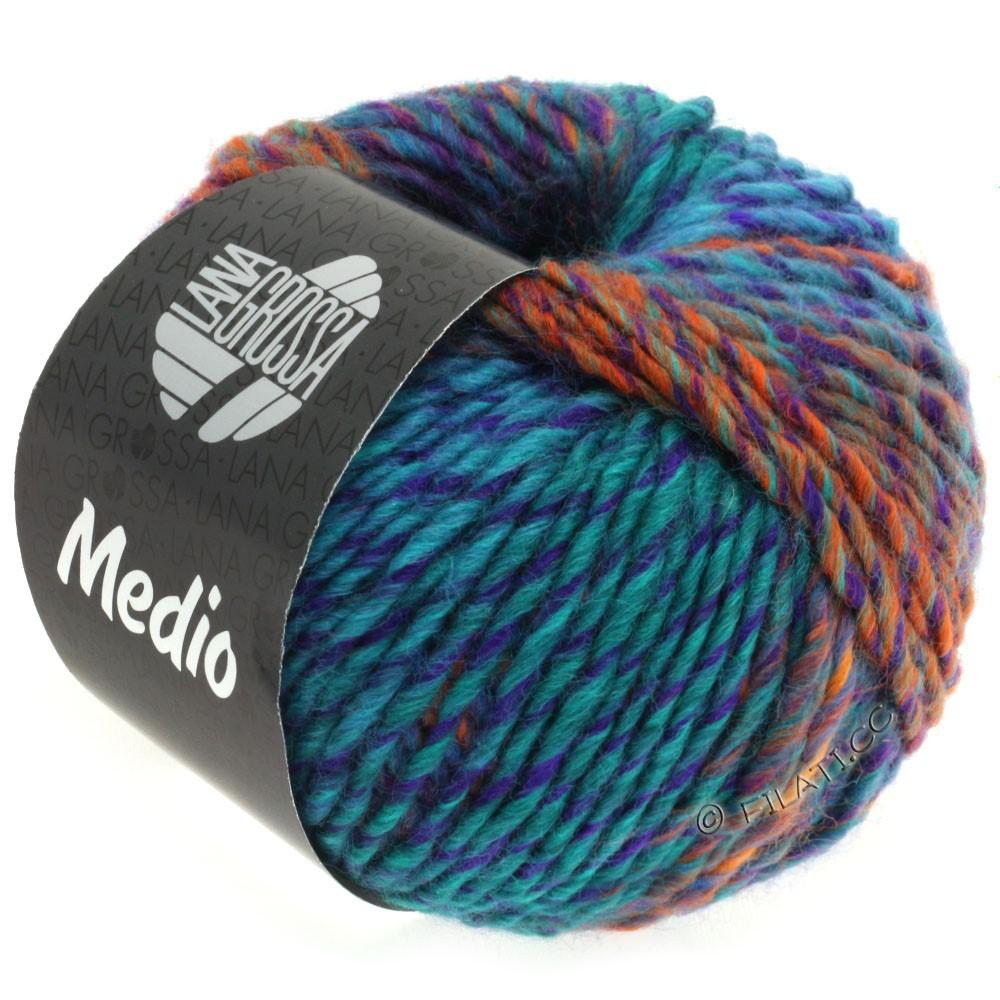 Lana Grossa MEDIO | 33-natblå/mørke petrol/violet/lysegrøn/orange/blå