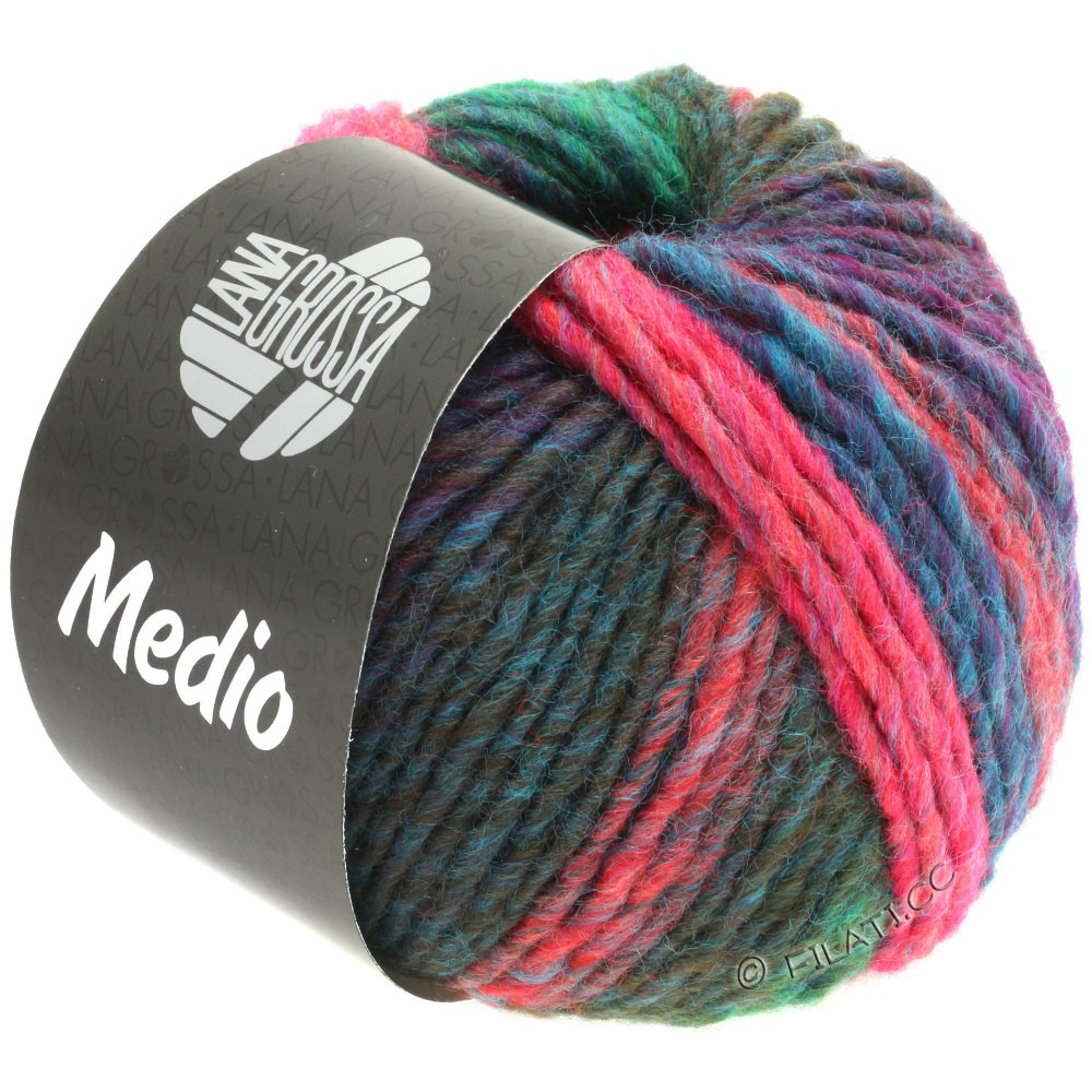 Lana Grossa MEDIO | 43-petrol/jade-grønne/pink/oliven/hindbær/lyseblå